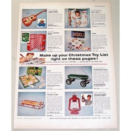 1955 Christmas Toy List Color Print Ad - Lone Ranger Guitar + More