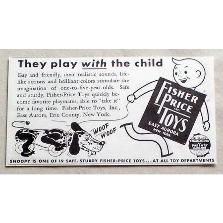 1949 Fisher Price Toys Snoopy Dog Pull Toy Vintage Print Ad