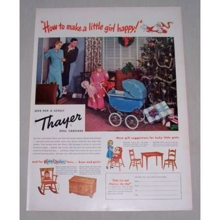 1949 Thayer Toy Doll Carriage Color Christmas Color Print Ad