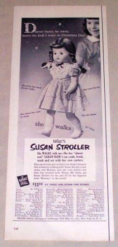 1953 Eegee SUSAN STROLLER Toy Doll Vintage Vintage Print Ad