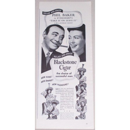 1944 Blackstone Cigars Vintage Print Ad Celebrity Phil Baker