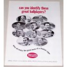 1964 Phillies Cigars Ad Celebrity Baseball Stars Mays Berra plus Others