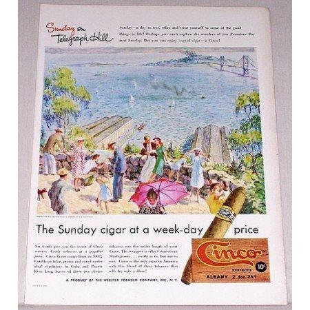 1947 Cinco Perfecto Cigars Telegraph Hill Art Color Print Ad