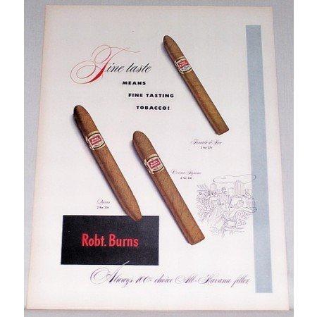 1948 Robt. Burns Cigars Color Print Ad - Fine Taste