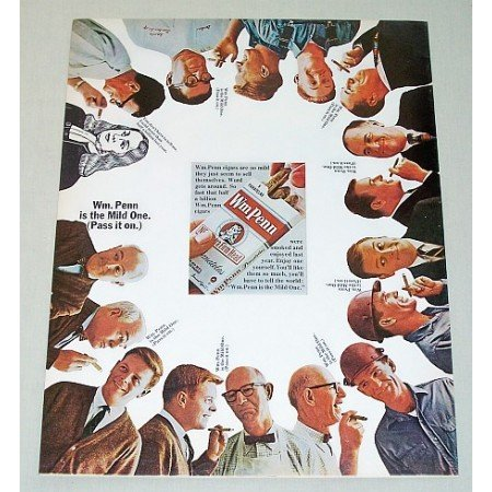 1965 Wm Penn Cigars Color Print Ad - The Mild One Pass It On