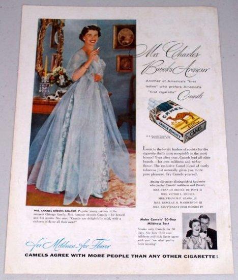 1954 Camel Cigarettes Tobacco Vintage Color Print Ad Mrs. Charles Brooks Armour