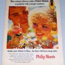 1955 Philip Morris Cigarettes Color Tobacco Art Print Ad