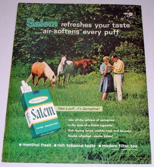 1962 Salem Cigarettes Outdoors Horses Color Tobacco Print Ad