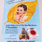 1948 Lucky Strike Cigarettes Color Tobacco Art Vintage Print Ad - J.M. Ball Salem N.C.