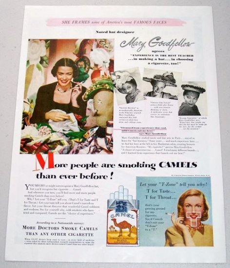 1948 Camel Cigarettes Color Tobacco Vintage Print Ad - Hat Designer Mary Goodfellow