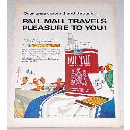 1963 Pall Mall Cigarettes Color Print Ad - Travels Pleasure