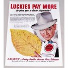 1949 Lucky Strike Cigarettes Color Print Ad - A Finer Cigarette