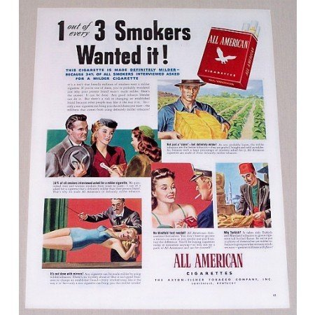 1944 All American Cigarettes Color Print Ad - Smokers Wanted It!