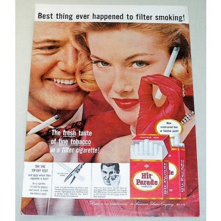 1957 Hit Parade Cigarettes Color Print Ad - Best Thing Ever