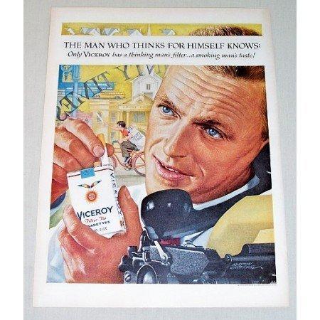 1959 Viceroy Cigarettes Underhill Art Color Print Ad