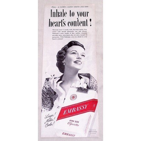 1949 Embassy Cigarettes Vintage Print Ad - To Your Heart's Content