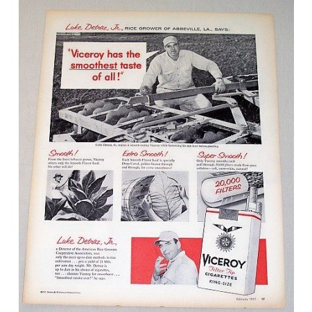 1957 Viceroy Cigarettes Vintage Print Ad Luke Detraz Jr Rice Grower