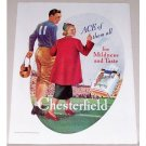 1937 Chesterfield Cigarettes Color Football Art Vintage Print Ad