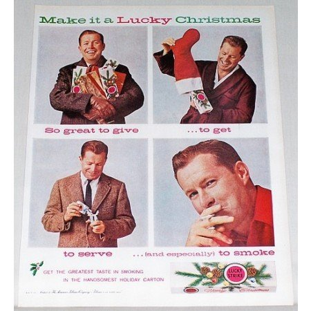 1961 Lucky Strike Cigarettes Vintage Color Christmas Print Ad