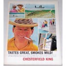 1964 Chesterfield Cigarettes Bone Fishing Color Print Ad