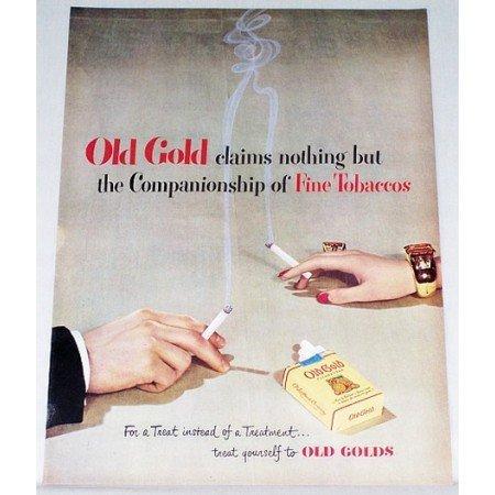 1948 Old Gold Cigarettes Color Print Ad - Companionship Of Fine Tobbaco