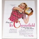 1942 Chesterfield Cigarettes Golden Jubilee Basketball Color Print Ad