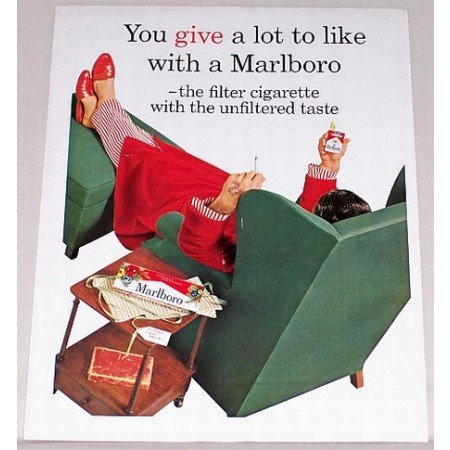 1962 Marlboro Cigarettes Color Print Ad - You Give A Lot To Like