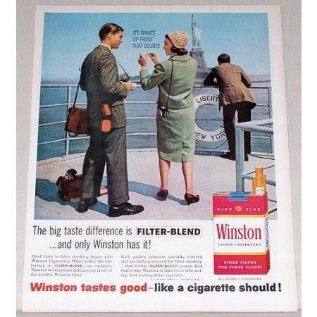 1961 Winston Cigarettes Statue Of Liberty New York Color Print Ad