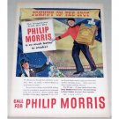 1947 Philip Morris Cigarettes Color Print Ad - Johnny On The Spot