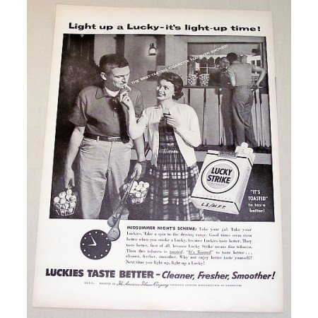 1954 Lucky Strike Cigarettes Golf Driving Range Vintage Print Ad