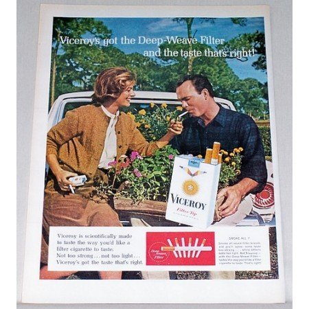 1964 Viceroy Cigarettes Gardening Flowers Color Print Ad