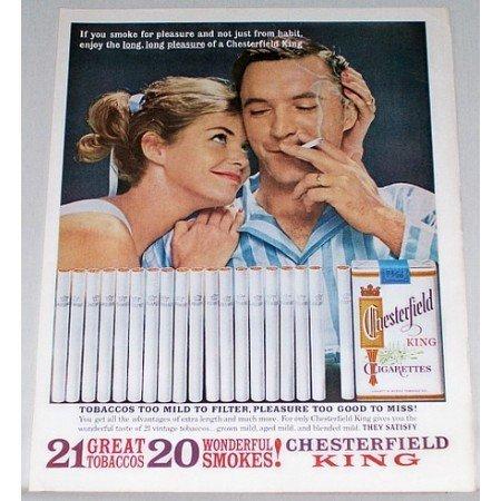 1962 Chesterfield Cigarettes Color Print Ad