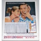 1962 Chesterfield Cigarettes Color Print Ad