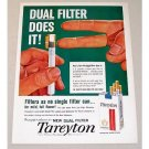 1960 Tareyton Cigarettes Color Print Ad - Dual Filter Does