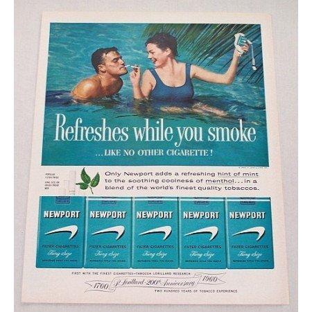 1960 Newport Cigarettes Swimming Color Print Ad