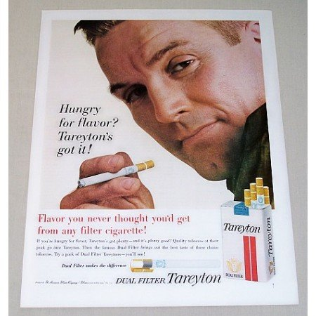 1963 Tareyton Cigarettes Color Print Ad - Hungry For Flavor?