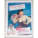 1952 Chesterfield Cigarettes Color Print Ad Celebrity Lucille Norman