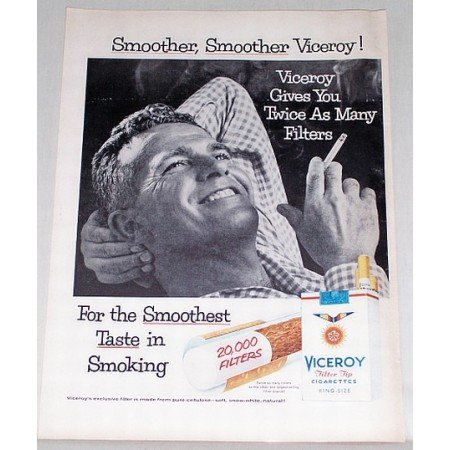 1956 Viceroy Cigarettes Vintage Tobacco Print Ad - Smoother Viceroy