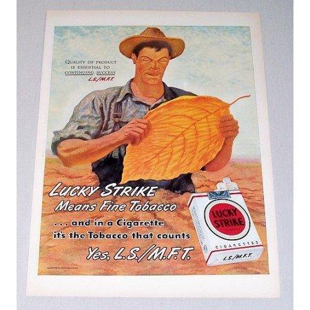 1946 Lucky Strike Cigarettes Color Tobacco Print Ad - Fine Tobacco