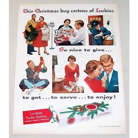 1962 Lucky Strike Cigarettes Color Christmas Tobacco Print Ad