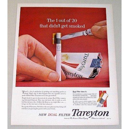 1961 Tareyton Cigarettes Color Tobacco Print Ad