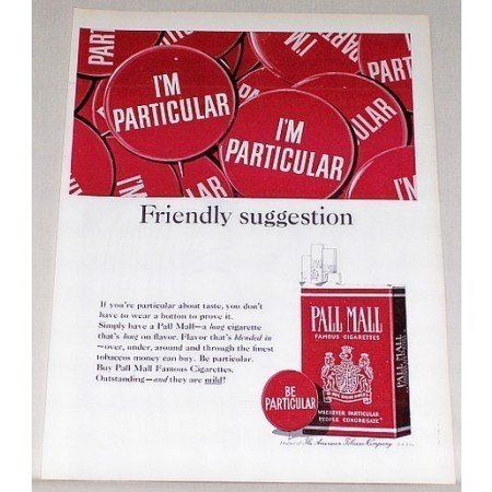 1964 Pall Mall Cigarettes Color Tobacco Print Ad - Be Particular