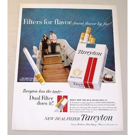 1961 Tareyton Cigarettes Color Tobacco Print Ad - Filters For Flavor