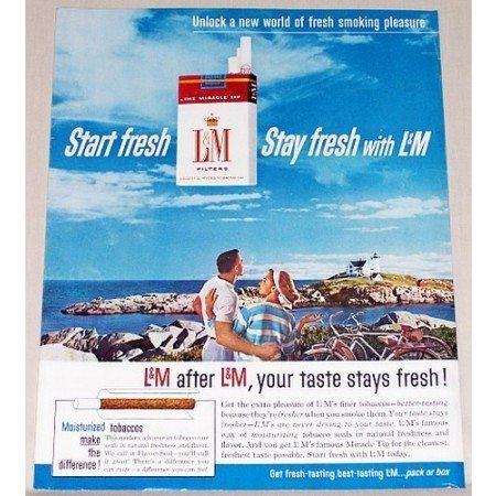 1961 L & M Cigarettes Color Tobacco Print Ad - Unlock A New World