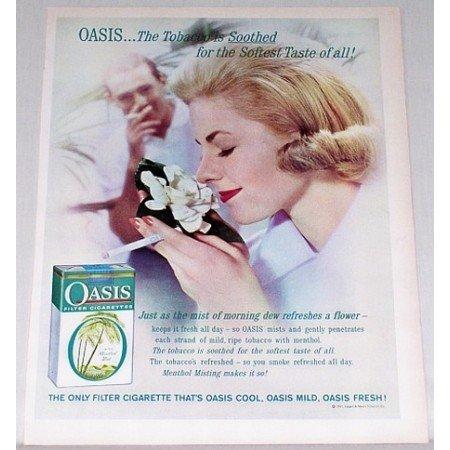 1961 Oasis Cigarettes Color Print Ad - Mist Of Morning Dew