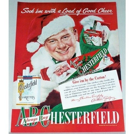 1948 Chesterfield Cigarettes Color Christmas Print Ad Celebrity Aurthor Godfrey