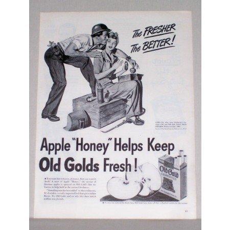 1944 Old Gold Cigarettes Welder Art Vintage Tobacco Print Ad
