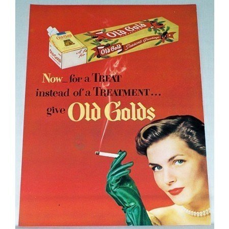 1948 Old Gold Cigarettes Color Tobacco Print Ad - Now For A Treat
