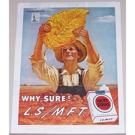 1945 Lucky Strike Cigarettes Color Tobacco Print Art Ad - Why, Sure!