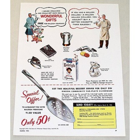 1955 Raleigh Cigarette Oneida Dessert Server Offer Color Print Ad